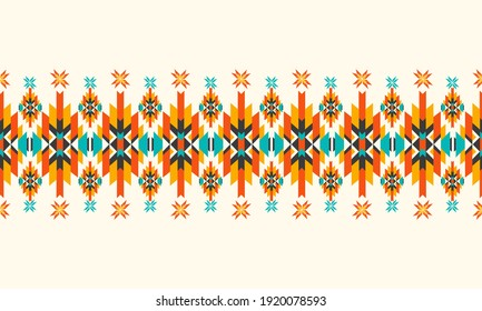 Vector seamless decorative ethnic pattern. American indian motifs. Design for background,carpet,wallpaper,clothing,wrapping,Batik,fabric,Vector illustration.embroidery style.