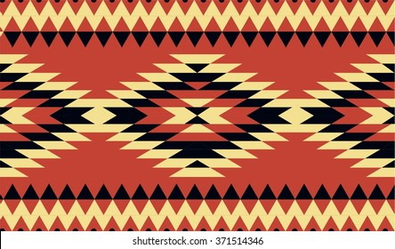Vector seamless decorative ethnic pattern. American indian motifs. Background with aztec tribal ornament. Red, black, yellow colors
