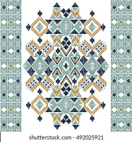 Vector seamless decorative ethnic pattern. American indian motifs. Background with aztec tribal ornament. Print for fashion, textile, paper and cover. Hand drawn illustration.