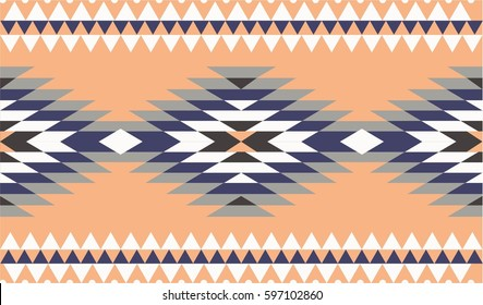 Vector seamless decorative ethnic pattern. American indian motifs. Background with aztec tribal ornament. pale gamma.
