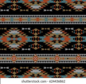 Vector seamless decorative ethnic pattern. American indian motifs. Background with aztec tribal ornament. pale gamma. Aztec Pattern.
