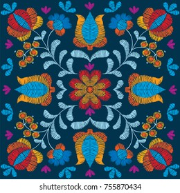 Vector seamless decorative floral embroidery pattern, ornament for textile, kerchief, pillow or handbag decor. Bohemian handmade style background design.