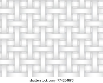 Vector seamless decorative pattern of braided ribbons. White texture.