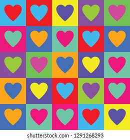 Vector seamless decorative pattern with colorful hearts. Abstract valentines day background.