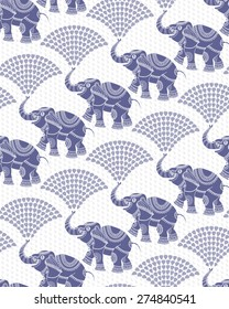 Vector seamless decorative pattern from dark blue elephant silhouette with ethnic ornaments and fountain from water drops. White background from dense light grey rain drops
