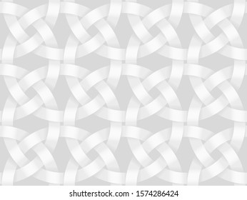 Vector seamless decorative pattern of intersected circle bands. White texture illustration.