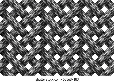 Vector seamless decorative pattern of intersecting fabric braided cords.