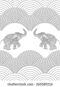 Vector seamless decorative pattern on white background from dark flowers, rope of pearls, and elephant with grey ethnic ornaments.