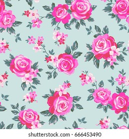 vector seamless delicate botanical roses flower pattern, gentle romantic floral design with leaves.