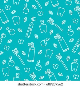 Vector seamless dental pattern with line icons