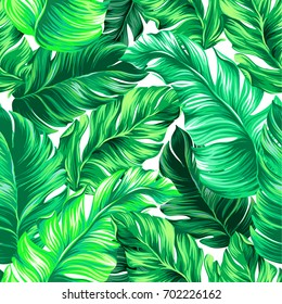 vector seamless design with beautiful tropical leaves. Exotic palms growing in vertical direction.