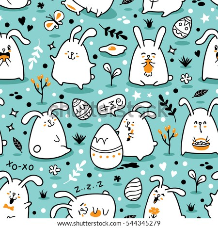 f258b221780 Vector Seamless Doodle Easter Pattern Bunnies Stock Vector (Royalty ...