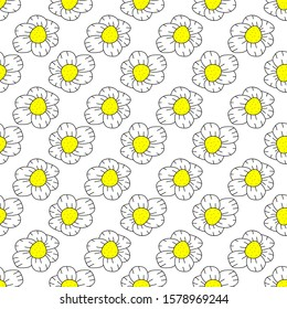 Vector Seamless Doodle Floral Pattern on white background
