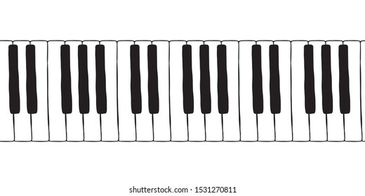 Vector seamless doodle pattern with hand drawn piano, harpsichord  keys. Musical octave, notes in musical  Western scale. Pianoforte musical grand piano octaves, sketch  drawing