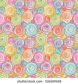 Vector seamless doodle swirl pattern. Hand drawn decorative color illustration in childish style for print, web