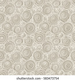 Vector seamless doodle swirl pattern. Hand drawn grey illustration in childish style for print, web