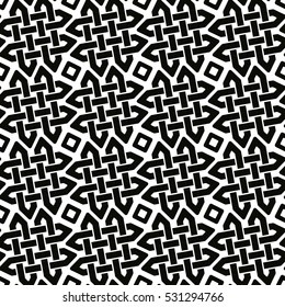 Vector seamless drawing. Celtic national ornamental background. Black pattern on a white background.
