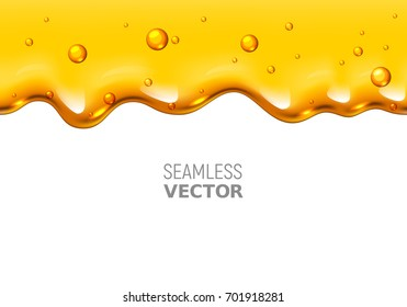 Vector seamless dripping honey on white background. Eps10. RGB. Global colors