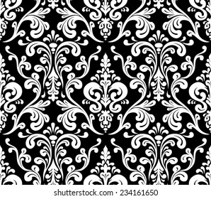 Vector. Seamless elegant damask pattern. Black and white