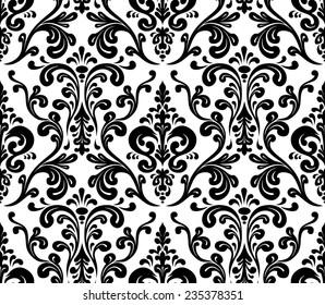 Vector. Seamless elegant damask pattern. Black and white
