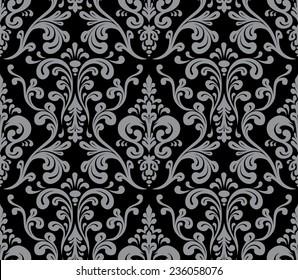 Vector. Seamless elegant damask pattern. Grey and black