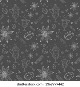 Vector seamless elegant pattern -  to design gift packs, fabric patterns, wallpapers, web sites, advertising- Isolated Coffee set  - with coffee beans, decor elements, drinks, cinnamon and anise stars