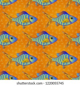 Vector seamless embroidery sea life, sea shells, tropical fishes pattern. Blue, orange and yellow tropical sea, wave, fishes, seamless fashion pattern. Fashionable clothes, t-shirt design.