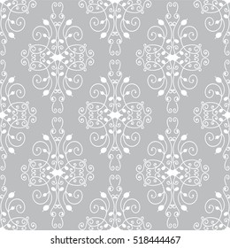 Vector seamless endless pattern. Damask pattern in white and silver grey colors. Flourish texture, minimalistic style background. Abstract design, perfect for fabric, wallpaper, paper print