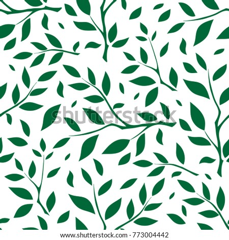 Vector Seamless Endless Pattern Silhouette Of Branches With Leaves Minimalistic Style Background Abstract