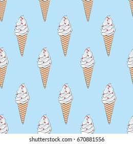 Vector seamless endless texture with hand drawn sketch ice cream. Cute pattern for scrapbooking, cards, wallpaper, typography, fashion, paper, textile, web design, clothes and others
