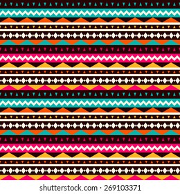 Vector seamless ethnic pattern. Abstract background. Geometric borders. Traditional colorful ornament.