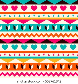 Vector seamless ethnic pattern. Abstract background. Geometric borders. Traditional colorful ornament with hearts.