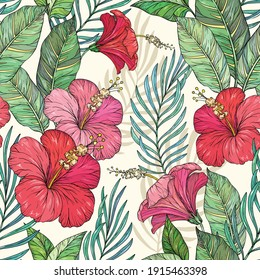Vector Seamless exotic pattern with tropical leaves. Tropical flowers and plants