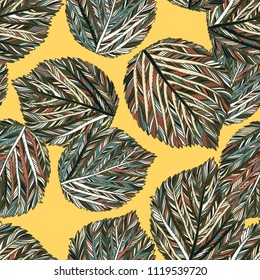 Vector seamless fall abstract pattern with striped leaves on yellow background. Modern autumn background. Bold vintage print with leafs for autumn hone decor and fall fashion. Botanical leaves texture