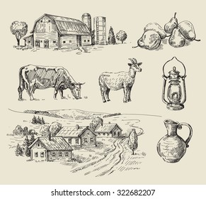 vector seamless farm and animals hand drawn set
