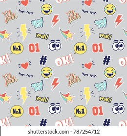 Vector seamless fashion patterns with patches for t shirt print on grey empty background. Smiley, good boy, oh yeah, number one, closed eyes, comic cloud, speech bubbles, 80s-90s comic style