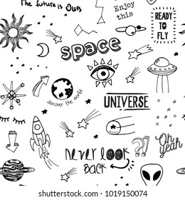 Vector seamless fashion sketch hand drawn pattern with space patches, lettering never look back, oh yeah, the future is ours, ready to fly, enjoy this, discover the world, sticker pack, notes, pins