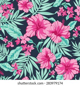 vector seamless fashionable graphical free hand drawing hibiscus flowers with palm tree leaves print on dark blue background. tropical summer, bright colors