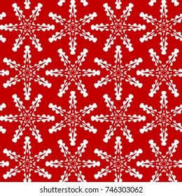 Vector seamless festive backdrop with white snowflakes on a red background, winter pattern, christmas pattern for greeting cards, invitations, congratulations, websites and print.