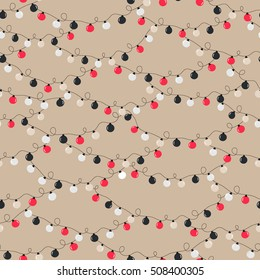 Vector seamless festive beige background with a pattern of red, black, grey garlands light bulbs