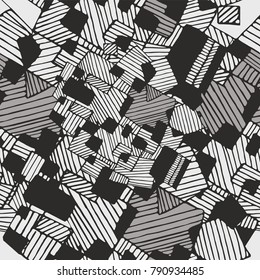 Vector seamless flat abstract geometric  pattern with chaotic stripes in monochrome  pastel black, white and light brown colors