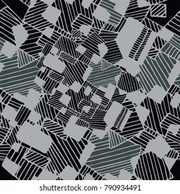 Vector seamless flat abstract geometric  pattern with chaotic stripes in monochrome  pastel black, white and grey colors