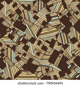 Vector seamless flat abstract geometric pattern with chaotic stripes in monochrome pastel light and dark brown and electric blue colors