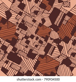 Vector seamless flat abstract geometric pattern with chaotic stripes in monochrome pastel light and dark brown colors