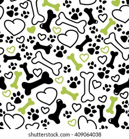 Vector seamless flat hand drawn dog pattern with bones, hearts, paw trace different sizes isolated on white background. Packaging paper design, pet food accessories package.