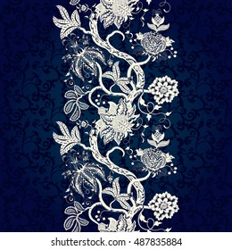Vector seamless floral background. Border with tree branches and fantastic flowers. The motives of the paintings of ancient Indian fabrics. Dark backdrop. Tree of Life collection.
