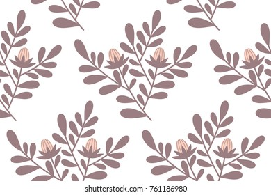 Vector seamless floral beautiful pattern on white background.