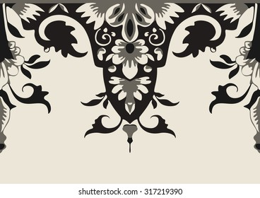 Vector seamless floral border. Element for design. Black and beige color. For decorating of invitations, greeting cards, decoration for bags and clothes