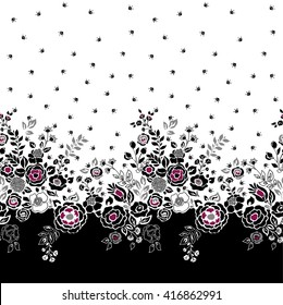 Vector seamless floral border. Silhouettes of flowers and grass, hand drawn illustration