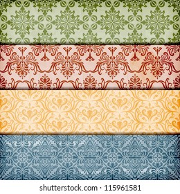 vector seamless floral borders on  crumpled paper texture, seamless patterns included in swatch menu , fully editable eps 10 file with transparency effects and mesh